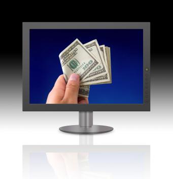 man dollar bill computer