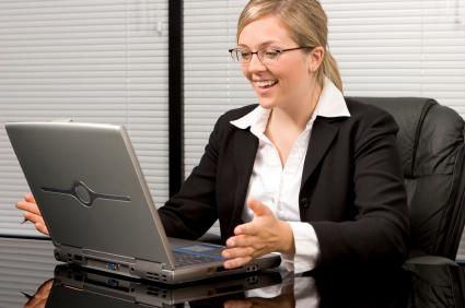 woman computer happy