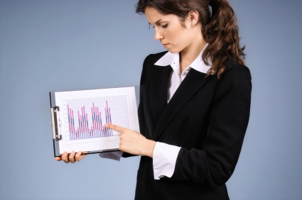 businesswoman presenting data