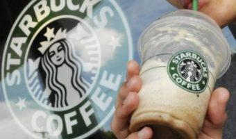 drinking starbucks coffee